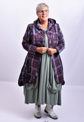 Vest/blouse/jasje  donker paars geruit met, ritssluiting, mooie zakken, lange mouw