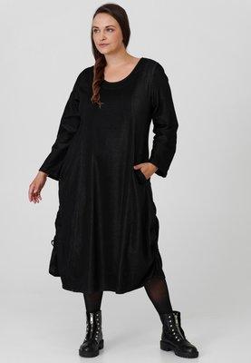 Jeansjurk, zwart, stone washed, A-lijn, rond toelopend, mooie opstaande kraag, Kekoo, zakken op voorpand