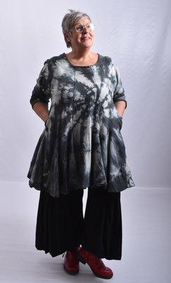 Tuniek, la Bass grijs/zwart, tie-dye, grote A-lijn, asymmetrisch,