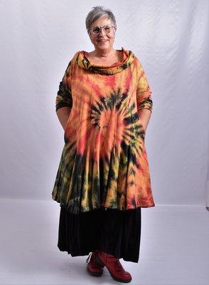 Tuniek, la Bass rood/oranje/zwart/groen/geel, tie-dye, grote A-lijn, asymmetrisch,