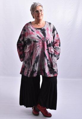 Tuniek, la Bass zwart/roze, tie-dye, grote A-lijn, ronde hals, lange mouwen