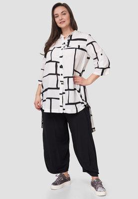 Blouse / tuniek Kekoo wit/zwart met print, met 7/8 ste mouw en knoopsluiting, achterpand langer ,rits in zijnaad