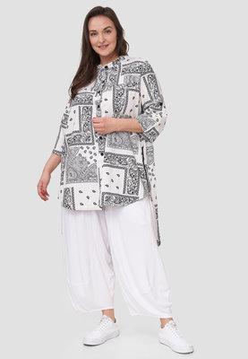 Blouse / tuniek Kekoo wit/zwart met print, met 7/8 ste mouw en knoopsluiting, achterpand langer ,rits in zijnaden
