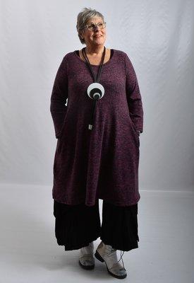 Jurk /lange tuniek Thom B aubergine/zwart,  A-lijn met lange mouw, ronde hals