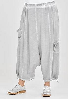 Broek, zouave model, Kekoo, grijs elastische taille, 7/8ste lengte