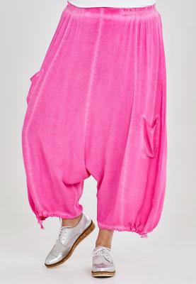 Broek, zouave model, Kekoo, roze elastische taille, 7/8ste lengte