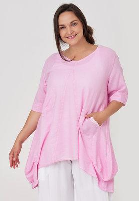 Tuniek roze Kekoo, washed out, grote A-lijn, bollingen aan de zijkant, halflange mouw