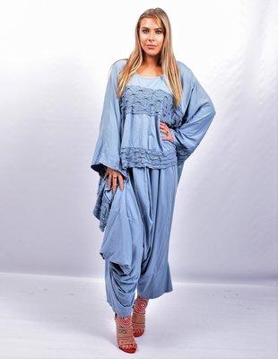 Zouavebroek, jeansblauw, heel apart, asymmetrisch, , rekbare taille,  plooien en bollingen op voorpand