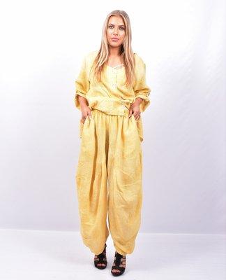 Broek geel, ballonmodel, steekzakken, rekbare taille, 100 % linnen,boord,