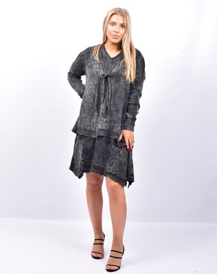 Vest, antraciet, stonewashed,  lange mouw, striksluiting, kraag A-lijn