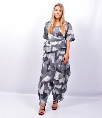 Zouavebroek, Kekoo, grijs/antraciet met patch print, elastische taille, steekzakken, tunnelkoordjes aan zijkant