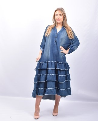 Jurk, lang Moonshine, licht jeansblauw, oprolbare mouw, mooie stroken aan onderkant