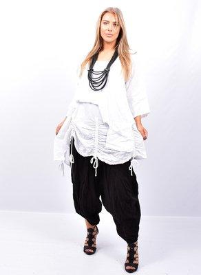 Tuniek, wit tweelaags, ophaaltjes ,zakje, linnen / cotton