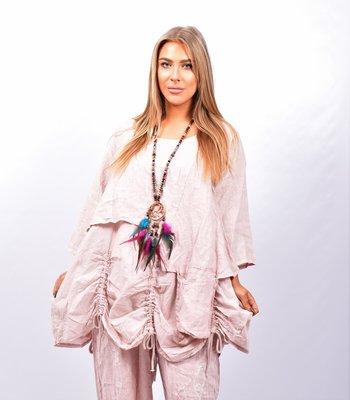 Tuniek roze tweelaags, ophaaltjes ,zakje, linnen / cotton