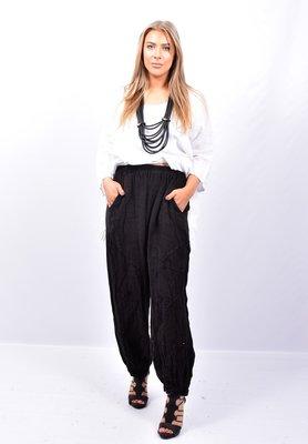 Broek, zwart, wijd model, steekzakken, rekbare taille, 100 % linnen, elastische zoom,
