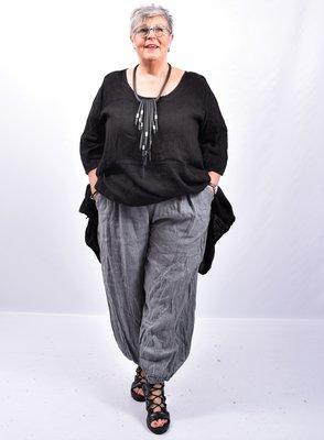 Broek, antraciet wijd model, steekzakken, rekbare taille, 100 % linnen, elastische zoom,