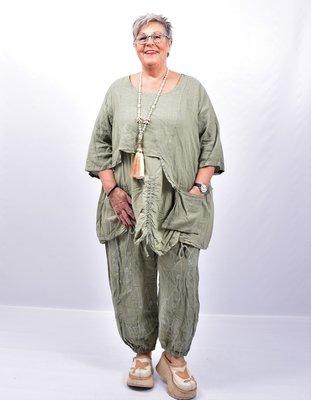 Tuniek armygroen tweelaags, ophaaltjes ,zakje, linnen / cotton