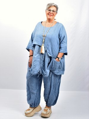 Tuniek jeansblauw tweelaags, ophaaltjes ,zakje, linnen / cotton