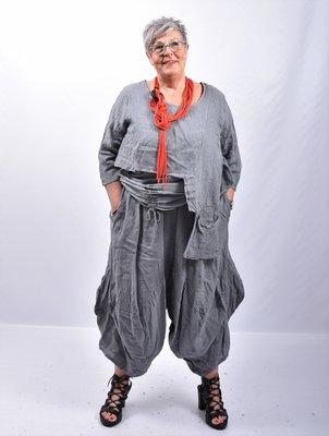 Zouavebroek, grijs, elastische taille, steekzakken