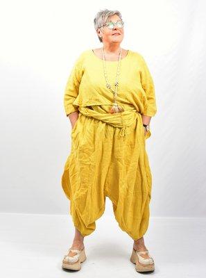 Zouavebroek, geel, elastische taille, steekzakken