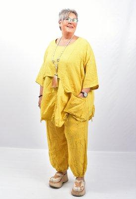 Tuniek geel tweelaags, ophaaltjes ,zakje, linnen / cotton