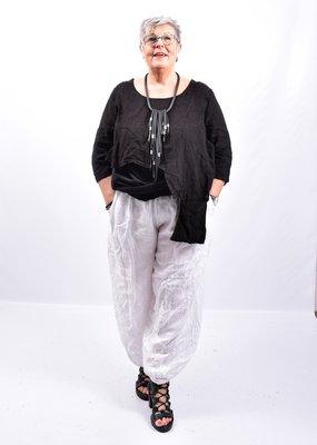 Broek, wit, wijd model, steekzakken, rekbare taille, 100 % linnen, elastische zoom,