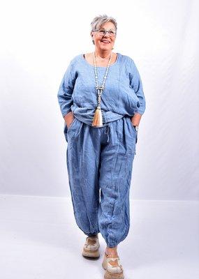 Broek, jeansblauw wijd model, steekzakken, rekbare taille, 100 % linnen, elastische zoom,