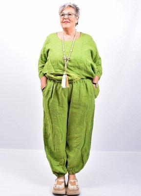 Broek, limegroen wijd model, steekzakken, rekbare taille, 100 % linnen, elastische zoom,