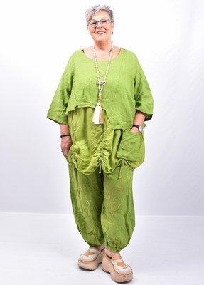 Tuniek lime groen, tweelaags, ophaaltjes ,zakje, linnen / cotton