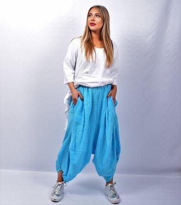 Zouavebroek, aquablauw, elastische taille, steekzakken