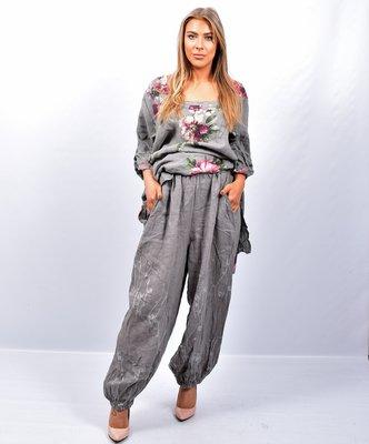 Broek, taupe, wijd model, steekzakken, rekbare taille, 100 % linnen, elastische zoom,