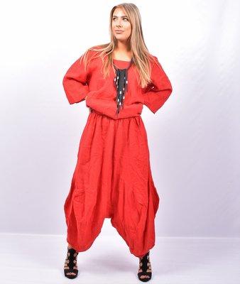 Zouavebroek, rood, elastische taille, steekzakken