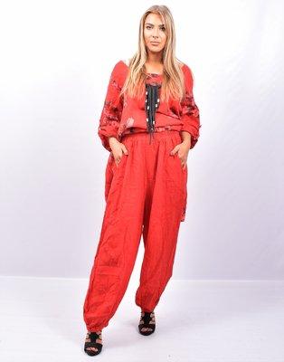 Broek, rood wijd model, steekzakken, rekbare taille, 100 % linnen, elastische zoom,