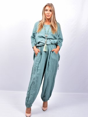 Broek, mintgroen wijd model, steekzakken, rekbare taille, 100 % linnen, elastische zoom,