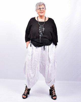 Zouavebroek, wit, elastische taille, steekzakken
