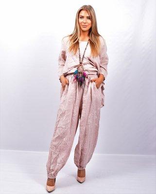 Broek, roze, wijd model, steekzakken, rekbare taille, 100 % linnen, elastische zoom,