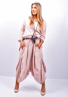 Zouavebroek, roze, elastische taille, steekzakken