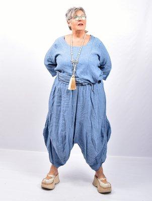 Zouavebroek, jeansblauw, elastische taille, steekzakken