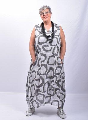 Jurk, linnen, grijs, met print, mouwloos, ballonmodel, V-hals, steekzakken