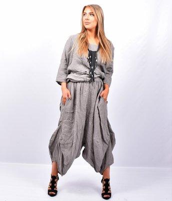 Zouavebroek, taupe, elastische taille, steekzakken