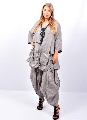 Tuniek taupe tweelaags, ophaaltjes ,zakje, linnen / cotton