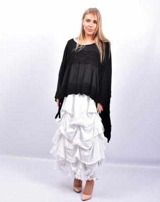 Rok, wit, met ophaaltjes ,rekbare taille, in lengte verstelbare rok, kantzoom