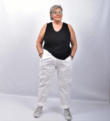 Stretchbroek, wit, elastische taille met tunnelkoord, gekreukte stof,