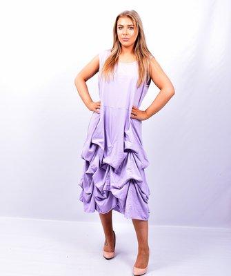 Jurk, lila lange tricot jurk met ingestikte ophaaltjes, zonder mouw, in lengte verstelbaar