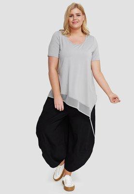 T shirt grijs korte mouw, asymmetrisch , tule rand  aan onderzijde, Kekoo