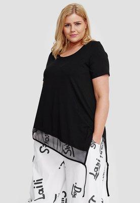 T shirt zwart korte mouw, asymmetrisch , tule rand  aan onderzijde, Kekoo