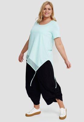 T shirt mintgroen korte mouw, asymmetrisch , tule rand  aan onderzijde, Kekoo