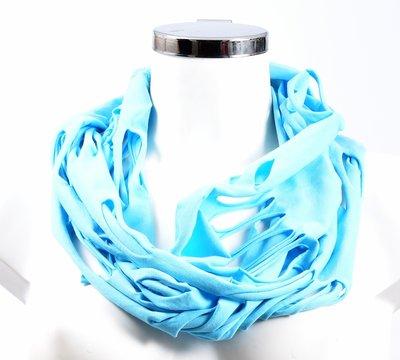 Sjaal, aqua met openingen