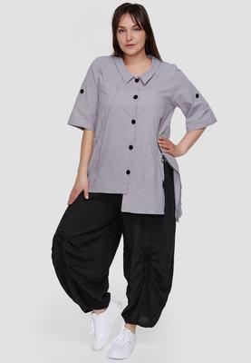 Blouse / tuniek Kekoo grijs, asymmetrisch, korte mouwen met ophaallusjes, kraag en knoopsluiting, ingeweven polka dot,
