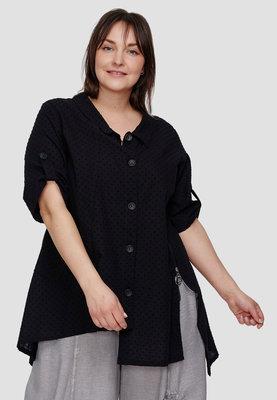 Blouse / tuniek Kekoo zwart, asymmetrisch, korte mouwen met ophaallusjes, kraag en knoopsluiting, ingeweven polka dot,